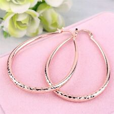 Ladies Fashion Jewelry 18K Plated Gold Oval Hoop Earrings W/ Hammered Design