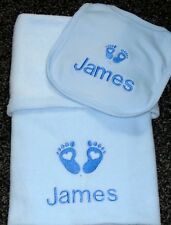 Personalised Baby Blanket & Bib Embroidered Heart Baby Feet Design Blue Gift Set