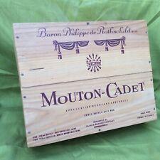 Mouton Cadet Baron Philippe De Rothschild Bordeaux 3 Bottle Wood Wine Gift Box