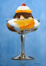 "Darrell Hill ""Sundae Treat"" Original Watercolor Painting Artwork, ice cream, OBO"