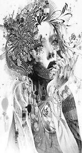 """black/white lady/flowers abstract CANVAS PICTURE WALL ART large 20x40"""" portrait"""