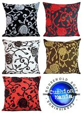 """Large Cushions or covers SET OF 4 Velvet Flock Floral 22"""" x 22"""" NEW"""