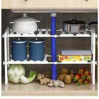 Adjustable Kitchen Bathroom Under Sink Rack Shelf Unit Organiser Storage Tidy