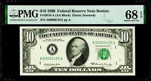 "$10 1969 FRN Boston ""Low Serial # 115"" PMG 68 EPQ Superb Gem Uncirculated"