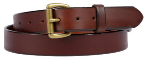 Brown leather belt with a Lifetime warranty. Made in USA from Full Grain leather