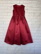DESSY Girl Bridesmaid Flowergirl Red Satin Dress Size 5 Sleeveless Black Belt