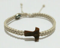 Olive Wood Tau Cross Bracelet on Beige Cord With Medal Jesus And Virgin Mary