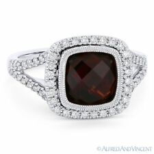 Halo Right-Hand Ring in 14k White Gold 3.34ct Cushion Cut Garnet & Diamond Pave
