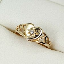 Cubic Zirconia Set Heart Signet Ring In 9ct Yellow Gold Finger Size E
