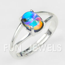 New Marble Color Change Oval Mood Ring With Beautiful Swirl Brass Free Gift Box