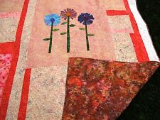 77 in. by 86 in. handmade batik flower applique modern bed quilt in salmon
