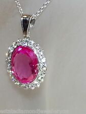 STUNNING GENUINE .80ct DIAMOND PENDANT & PINK SAPPHIRE VALUATION CERT $3,280