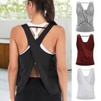 Women Yoga Tank Tops Sports Open Back T-Shirts Vest Exercise Sleeveless Gym Tops