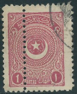 TURKEY 1924 Star and Crescent 1 Pia redbrownlilac, superb used DOUBLE PERFORATED