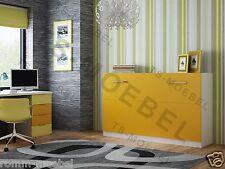 Schrankbett / Wandbett / Klappbett -50-90x190 cm Quer- Holzfarbe: Weiß-Orange