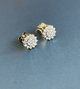 9ct Yellow Gold Diamond Earrings 0.30ct Flower Cluster Studs
