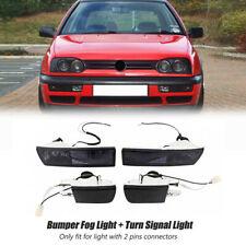 Smoked Front Bumper Fog Light + Turn Signal Lamp For VW Jetta MK3 Golf 1993-1998