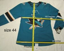 SAN JOSE SHARKS - size 44 = Extra Small ADIDAS HOCKEY JERSEY Climalite Authentic