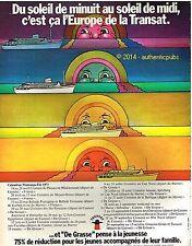 PUBLICITE CGT TRANSAT PAQUEBOT CANNES DE GRASSE CROISIERE BATEAU 1973 FRENCH AD