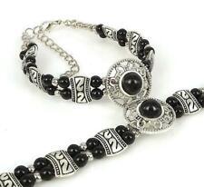 Ladies Jewelry Tibetan Silver Bracelet Black Bead Bangle Woman Bracelet BB2