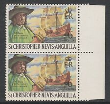 St Kitts 4669 - 1970 PIRATE SHIP 6c VARIETY in PAIR WITH NORMAL unmounted mint