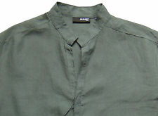 Men's MURANO Charcoal Gray Sexy Linen Shirt Large L NWT NEW HOT!!!