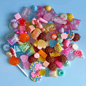 20pc Assorted Resin Faux Candy Flatback Buttons Cabochons for Crafts Decorations