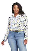 Lands' End NWT Women's Plus Size Brushed Rayon Collared Shirt White Flora MSR$60