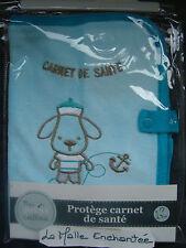 protege carnet de santé mes petits cailloux décor chien marin bleu 17 x 23 cm