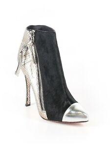 Jean-Michel Cazabat Zoulu Black&Metallic Snakeskin Ankle Boots-9.5-Retail $340