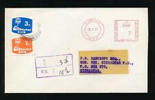 GIBRALTAR POSTAGE DUES on METER FRANKING from GB 1977 3p + 1p