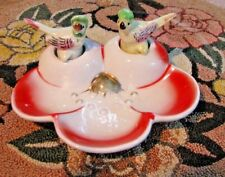 AWESOME PIN DISH WITH 2 CHICKEN NODDERS - WHITE GLASS WITH RED TRIM DISH-LEFTON