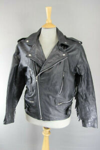 VINTAGE 70's MIRKHA PUNK ROCK CLASSIC TASSLED BLACK LEATHER BIKER JACKET 40 INCH