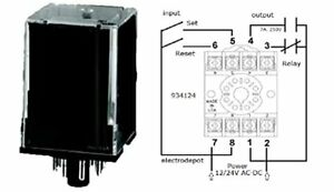 Set Reset Latching Relay Retentive Mechanical Memory Octal 12V, 24V AC DC Latch