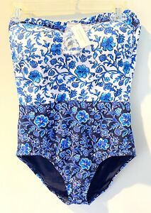 Tommy Bahama Removable Straps Swimsuit Sz 12 Tall Built In Shelf Bra