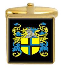 Emes England Familie Wappen Familienname Gold Manschettenknöpfe Graviert Kiste