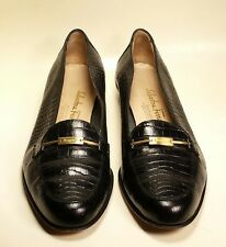 Salvatore Ferragamo Black Alligator Print Loafers Shoes Women's Size 8 B