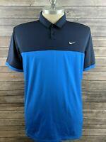 Nike Golf Dri Fit Mens Polo Blue Striped Size XL