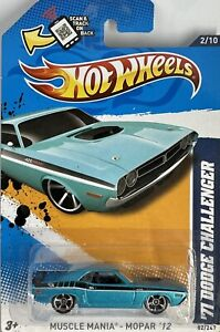 2012 Hotwheels Blue 1971 Dodge Challenger Muscle Mania Series 2/10 Card # 82/247
