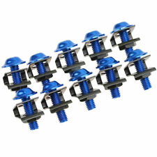 10x Fairing Body Bolts M6 6mm Spire Speed Fastener Clips Screw Spring Nut Blue