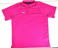 Under Armour Mens Heat Gear Short Sleeve Polo Shirt Pink Size XL NEW NWT