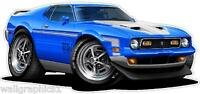 1971-72 Ford Mustang Mach 1 Wall Decal garage Graphic Man Cave Decor Stickers