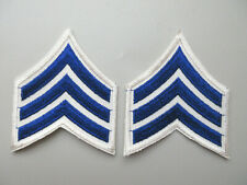 SERGEANT MILITARY SECURITY OFFICER RANK STRIPES PATCHES (BLUE / WHITE)