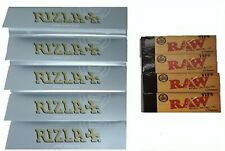5 X Silver Ultra Thin Rizla King Size Slim Rolling Papers 4 X Raw Filter Tips