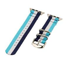 Navy/White/Light Blue - 2 Piece Classic SS Nylon Watch Band for 38mm Apple Watch