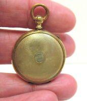 ANTIQUE GOLD FILLED ROUND LOCKET FOB PENDANT 25 X 35 MM 5 GRAMS