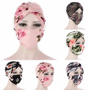 2Pc Floral Women Cotton Turban Hijab Headscarf Cap Chemo Wrap Hat Set Face-cover
