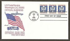#O139 (22c)  Official Mail -Great Seal - Artmaster FDCP#1 Coil Strp 3