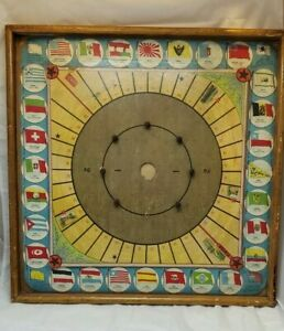 Vintage Flags of the Nation Crokinole and carrom Board Game - Patent 8/21/1900