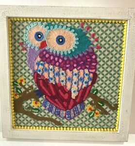 Vtg Mid Century Owl Yarn Needlepoint Embroidered Picture 70s Mod Hippie Wall Art